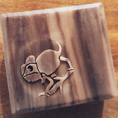 """3D Chameleon Soap Stamp - 1.57"""" (40mm) - with fixed universal handle"""