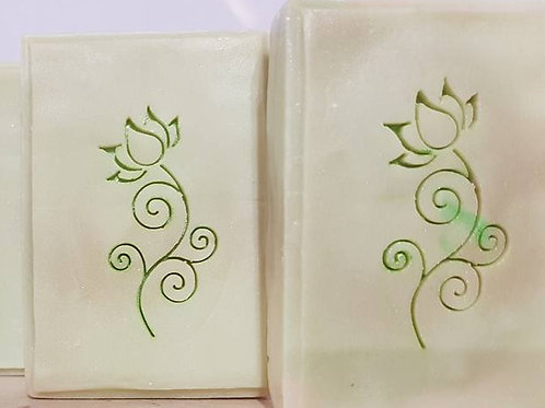Beautiful Flower with Lotus Head stamp - footprint: 1.00' x 1.93' (25mm x 49mm)