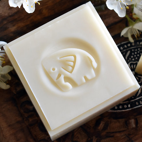 "Elephant - Mammoth Soap Stamp -1.57"" (40mm) diameter-with fixed universal handle"