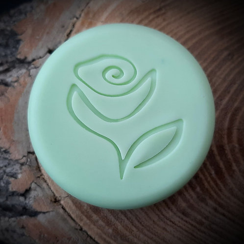 "Drawn Series Tea Rose Flower Soap Stamp -footprint:  1.57"" x 1.65"" (40mm x 42mm)"