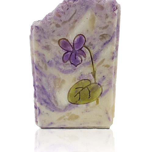 Violet Flower Soap Stamp - Even Fits into popular oval mould