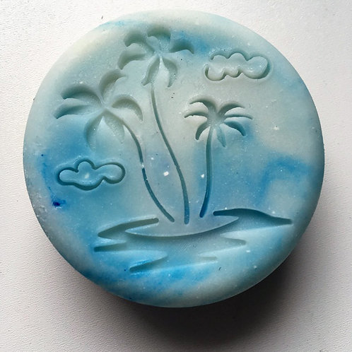 "Large Palm Trees Summer Soap Stamp - 1.89"" x 2.05"" (48mm x 52mm)"
