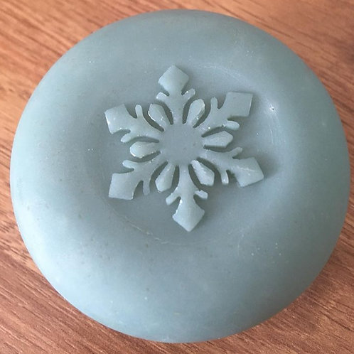 "3D Snowflake Soap Stamp - 1.57"" (40mm) diameter - with fixed univers"
