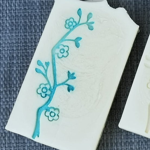 "Large Cherry Flower Soap Stamp - footprint 1.14"" x 3.54"" (29mm x 90mm)"