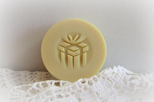 "3D Christmas Gift Box Soap Stamp- 1.57"" (40mm) diameter"