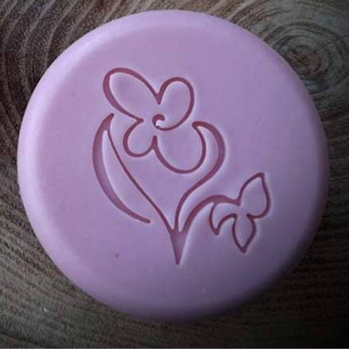 "Drawn Series Violet Flower Soap Stamp - footprint:  1.46"" x 1.49"" (37mm x 38mm)"