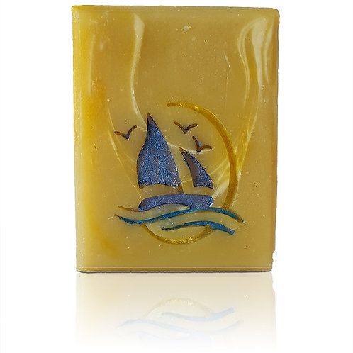 """Sailing Boat with Moon Soap Stamp - Imprint area: 1.38"""" x 1.5"""""""