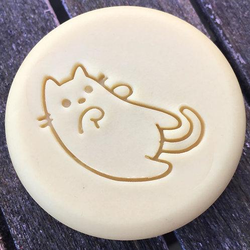 """Bold Cat Soap Stamp - footprint: 1.73"""" x 1.1"""" (44mm x 28mm"""