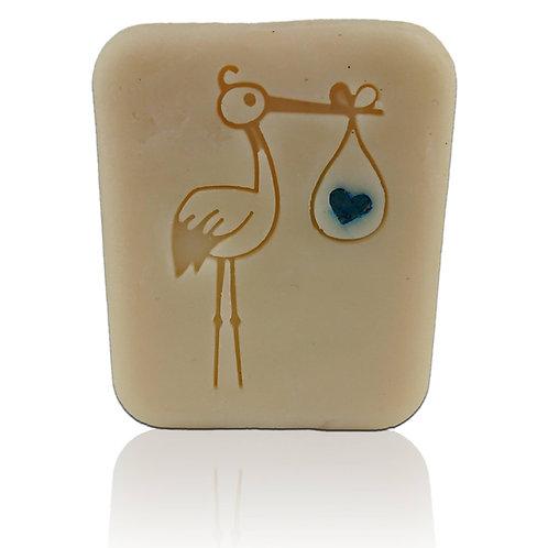 "Stork 1 baby Soap Stamp - Footprint 1.42"" x 2.09"" (36mm x 53mm)"