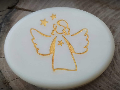 "Christmas Angel Soap Stamp - footprint:  1.57"" x 1.61"" (40mm x 41mm)"