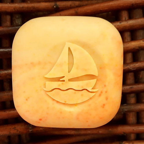 "3D Sailing Boat Soap Stamp design2- 1.57"" (40mm) diameter - with fixed univers"