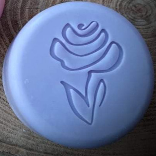 "Drawn Series Rose 2 Flower Soap Stamp - footprint:  1.34"" x 1.65"" (34mm x 42mm)"