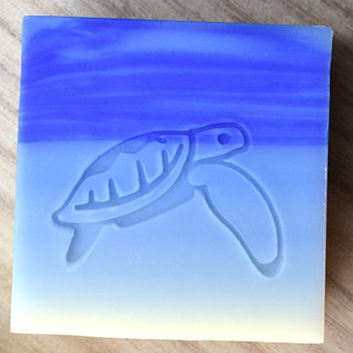 "Turtle Downwards Fin Soap Stamp - footprint 1.45"" x 1"" (37mm x 25mm)"