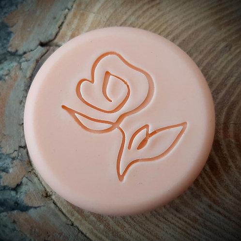 """Drawn Series Peony Flower Soap Stamp - footprint:  1.65"""" x 1.65"""" (42mm x 42mm)"""