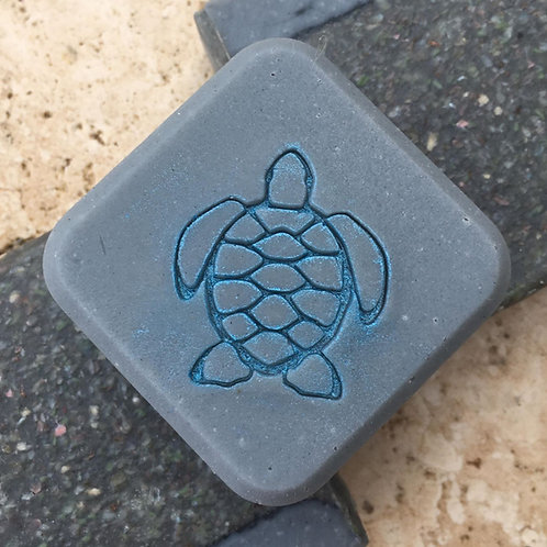 "Turtle Soap Stamp - footprint 1.18"" x 1.38"" (30mm width x 35mm height)"