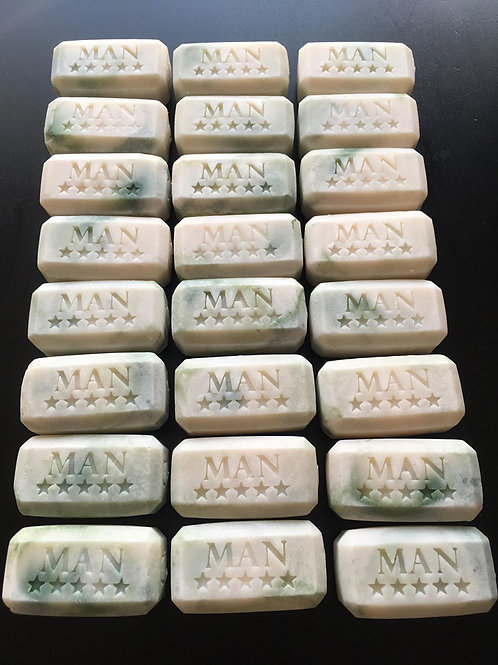 Man with Stars text soap stamp - footprint 52mm x 23mm