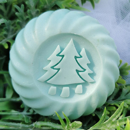 "3D Christmas Pine Trees Soap Stamp- Footprint: 1.57"" (40mm) diameter - Upgraded"
