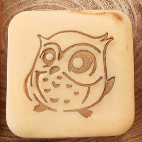 """Goggle Eyed Owl Soap Stamp - 1.85"""" x 1.77"""" (47mm x 45mm)"""
