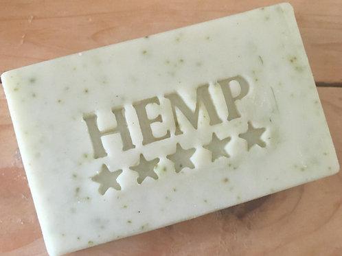 """Hemp text with Stars Soap Stamp - footprint 2.17"""" x 0.98"""" (55mm x 25mm)"""