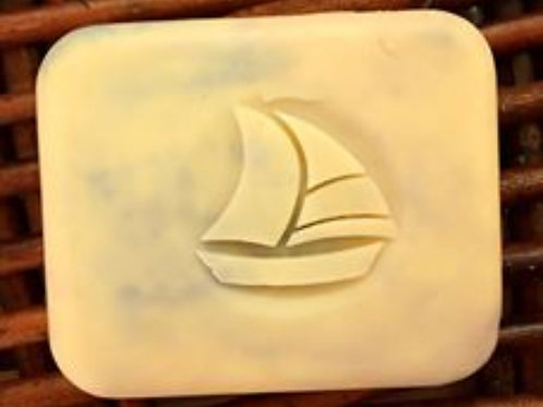 """3D Sailing Boat Soap Stamp - 1.57"""" (40mm) diameter - with fixed univers"""