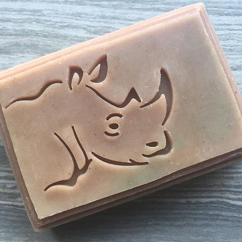 """Rhino soap stamp -footprint 2.16"""" x 1.5"""" (55mm width x 38mm height)"""