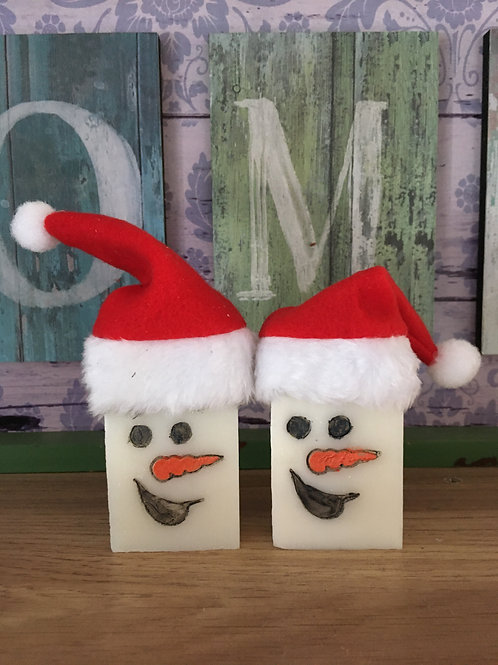 """Snowman Soap Stamp with a smile - footprint: 1.338"""" x 1.496"""" (34mm x 38mm)"""