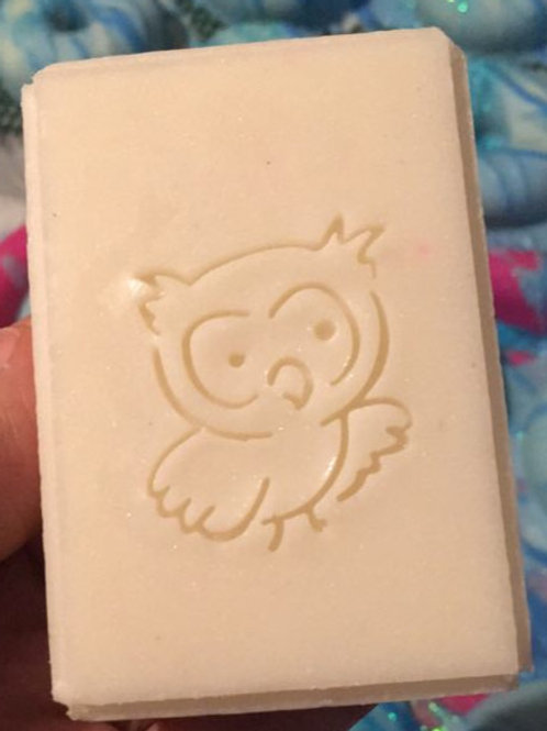 "Cute Owl soap stamp - Footprint  1.34"" x 1.49"" (34mm width x 38mm height)"