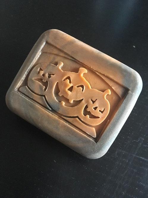 """Halloween Pumpkins soap stamp -footprint 2.28"""" x 1.42"""" (58mm width x 36mm height"""