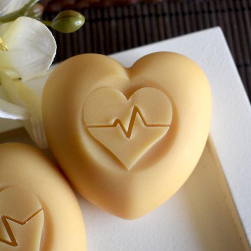 """3D ECG Heart Soap Stamp - 1.57"""" (40mm) footprint"""