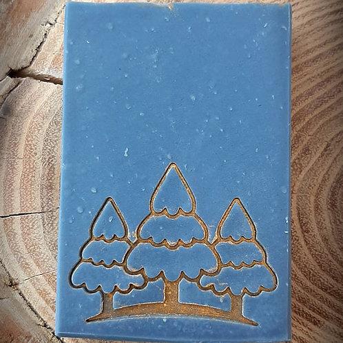 "Christmas Winter Trees Soap Stamp - footprint 2.12"" x 1.65"" (54mm x 42mm)"