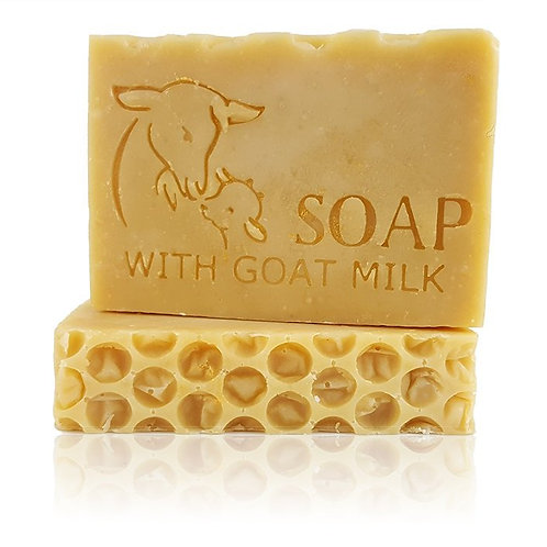 "SOAP with Goat Milk stamp - footprint 3.14"" x 1.81"" (80mm width x 46mm height)"