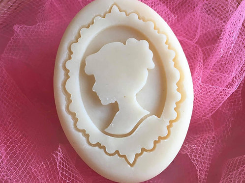 """Single Frame Lady Soap Stamp - Footprint  1.69"""" x 2.4""""(43mm width x 61mm height)"""