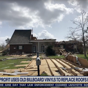 Every Shelter and Houston Responds Use Billboards to Tarp Damaged Roofs after Hurricane Laura