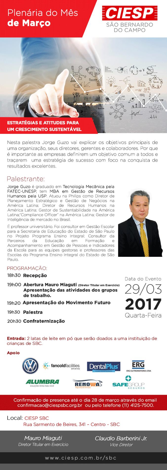 Convite: Palestra sobre Estratégias e Atitudes para um Crescimento Sustentável no CIESP São Bernardo