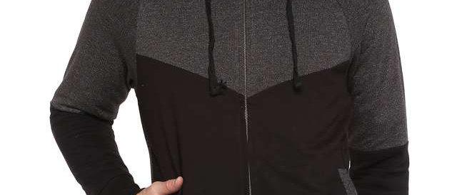 LIFE Mens Hooded Neck Colour Block Sweatshirt