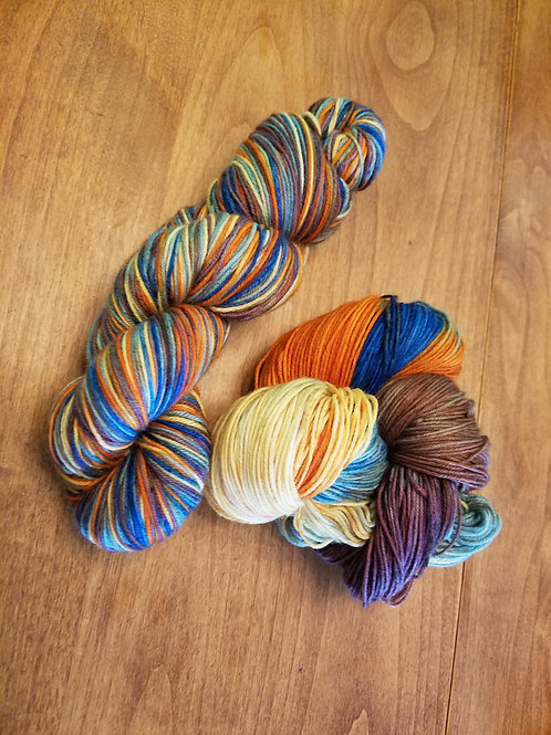 Early Fall superwash merino sock yarn