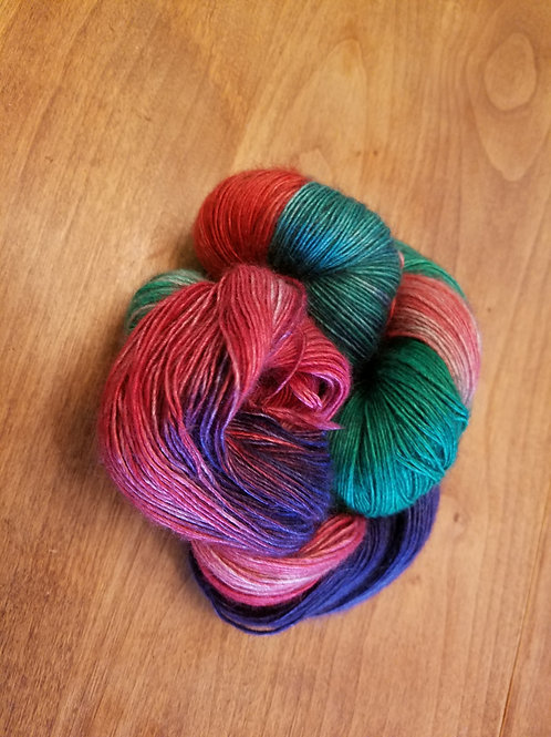 Rustic Christmas Morning hand dyed striped yak fingering yarn