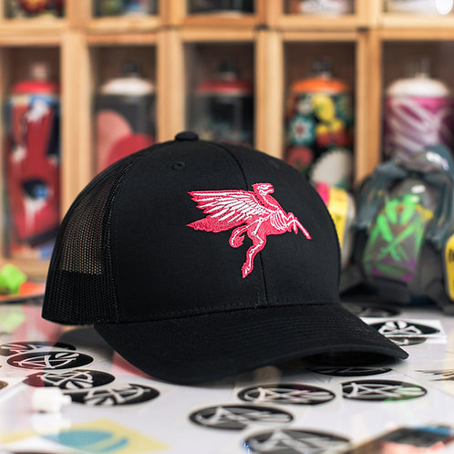 Neon Red Pegasus on Black Trucker