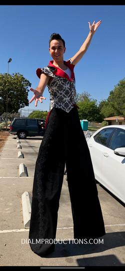 Black white red stilt walker los angeles