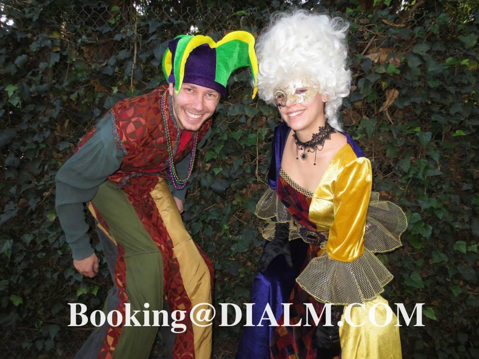 Stilt Walking Jester and White wig Mardi Gras DIALM