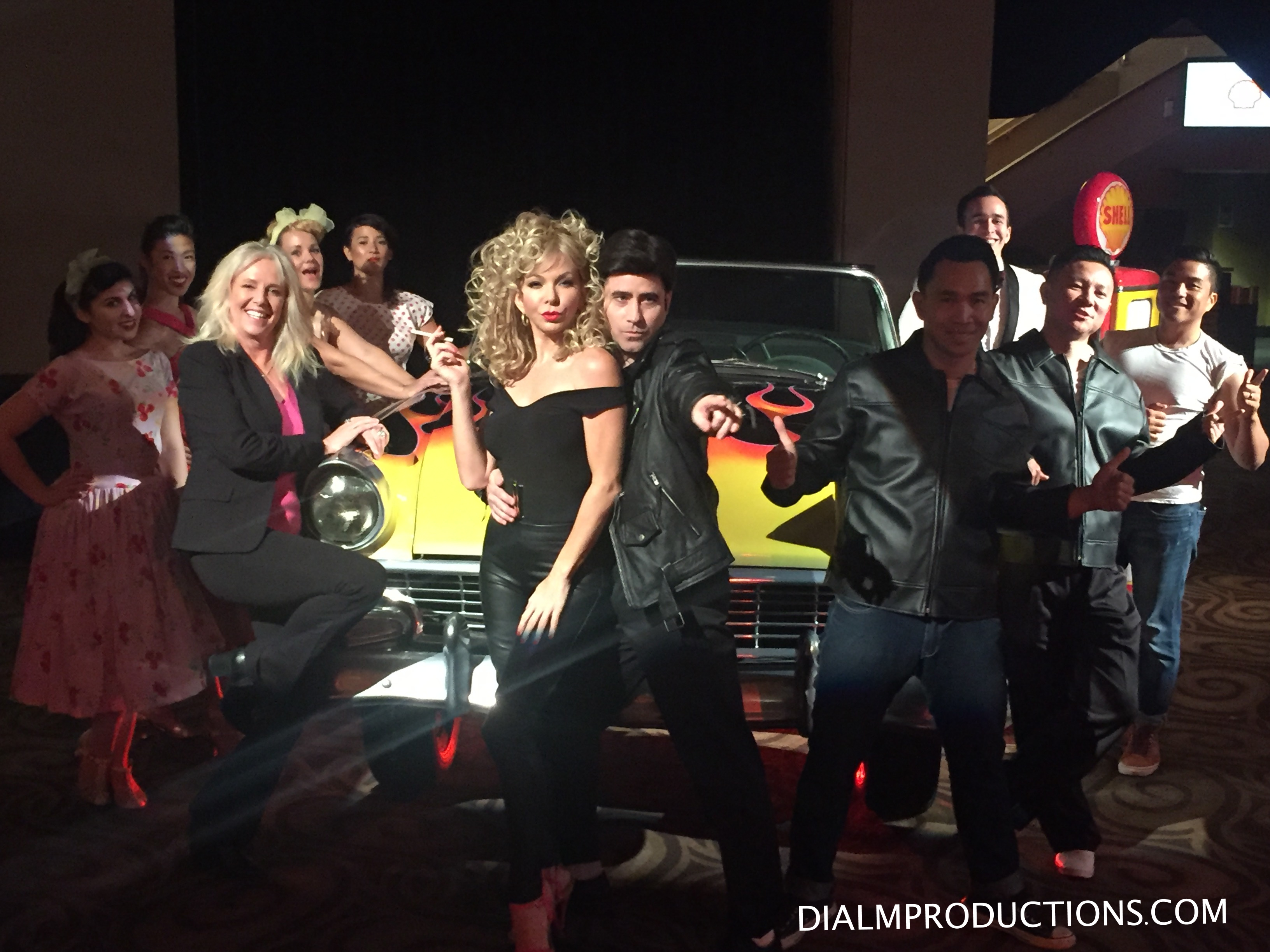 Grease cast hot rod car w peggy phillips