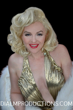 Marilyn Gold dress close up DialM
