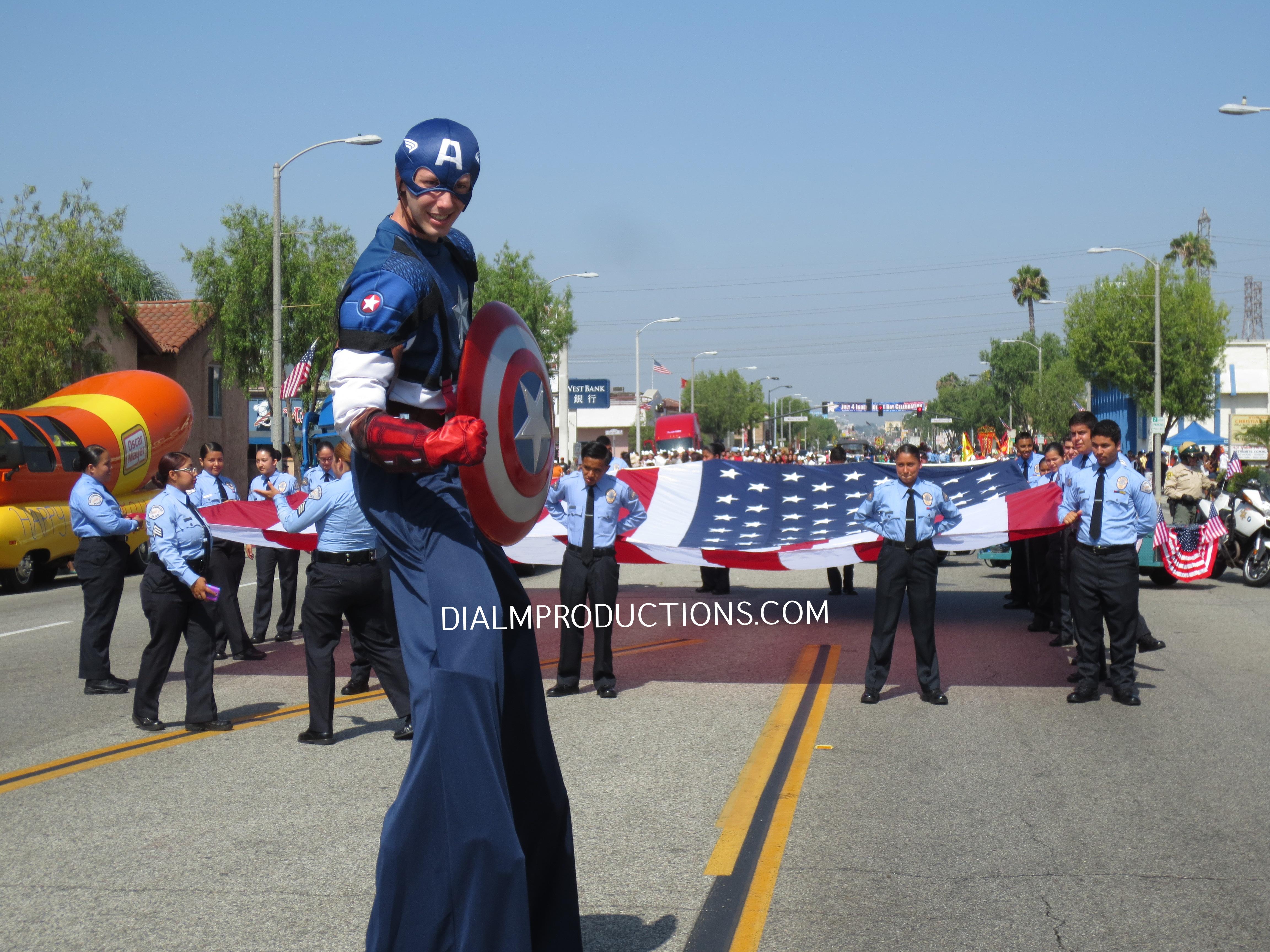 Captain America Stilt Walker Parade #CaptainAmerica #DIALM #StitlWalker #LosAngeles #EventPlanner