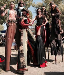 Stilt walker gold green black colors & Stilt Walking Pirates #Stilt Walker #Dialm