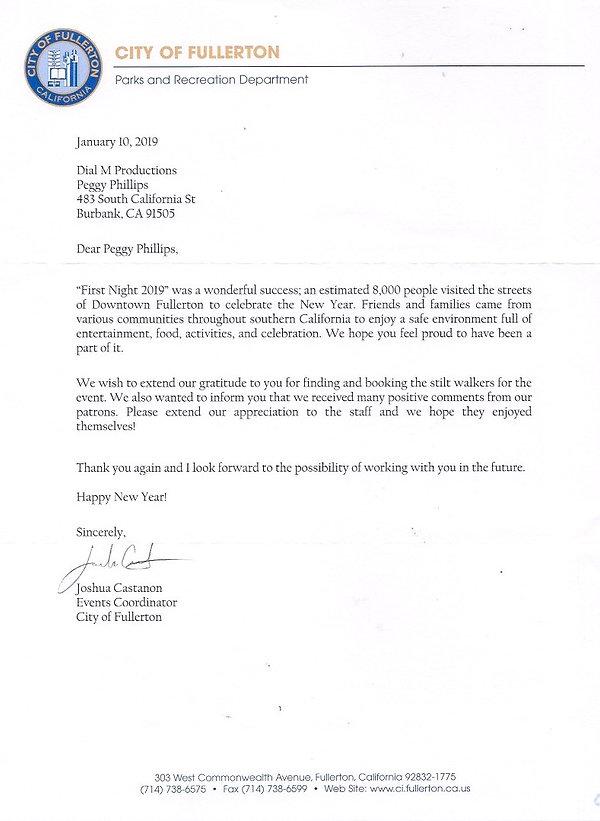 Fullerton Thank you Letter Stilt Walkers
