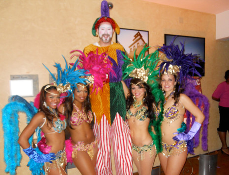 Jester and Brazilian Mardi Gras Dancers