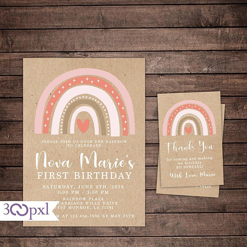 Rainbow Birthday Invitation, Watercolor Muted Rainbow, Rustic