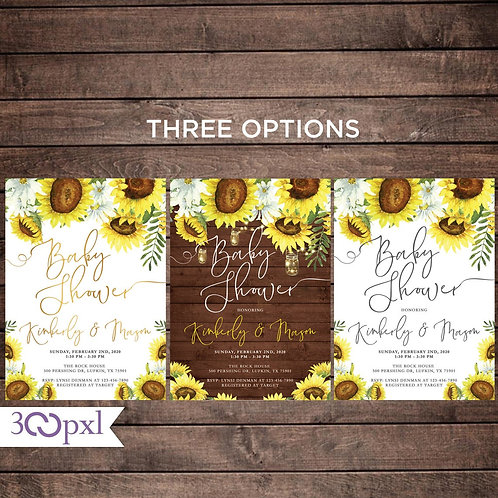 Rustic Sunflower Baby Shower Invitation, Gender Neutral