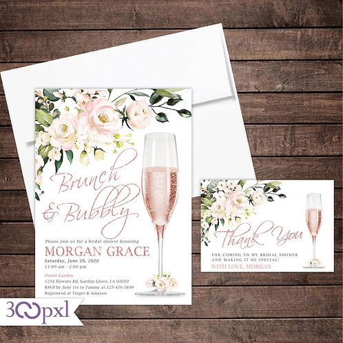 Brunch and Bubbly Bridal Shower Invitations, Rose Gold or Gold