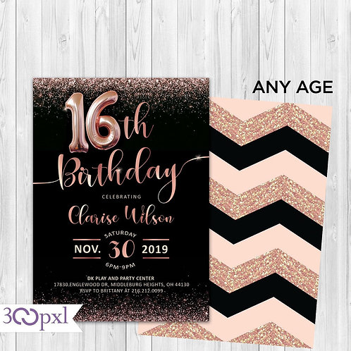 Rose Gold Birthday Invitation, 13th, 16th, 30th, 40th, 50th Birthday Invitation